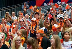 13-09-2019 NED: EC Volleyball 2019 Netherlands - Montenegro, Rotterdam<br /> First round group D / Rabo Club Tribune, support, fans Orange