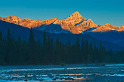 Sunrise on the Canadian Rocky Mountains with the Athabasca River. Icefields Parkway.<br />