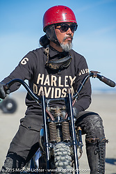 Atsushi (Sushi) Yasui of Freewheelers and Company in Japan with his hot-rod Harley-Davidson UL (in a 36 VL frame) at the The Race of Gentlemen. Wildwood, NJ, USA. October 11, 2015.  Photography ©2015 Michael Lichter.