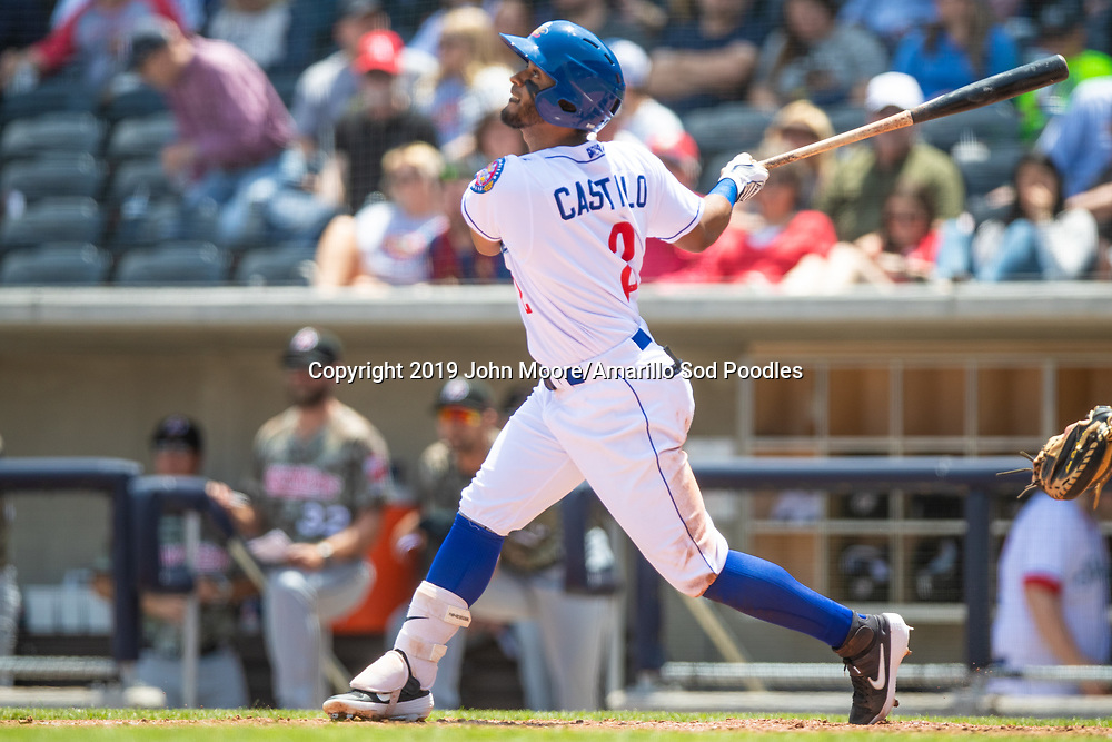 Amarillo Sod Poodles infielder Ivan Castillo (2) hits the ball against the Arkansas Travelers on Sunday, May 5, 2019, at HODGETOWN in Amarillo, Texas. [Photo by John Moore/Amarillo Sod Poodles]