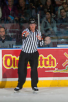 KELOWNA, CANADA - MARCH 4: Referee Steve Papp confirms a goal after review by the video goal judge at the Kelowna Rockets against the Tri-City Americans on March 4, 2017 at Prospera Place in Kelowna, British Columbia, Canada.  (Photo by Marissa Baecker/Shoot the Breeze)  *** Local Caption ***