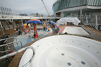 Oasis of the Seas at the shipyard in Turku, Finland where she is being built..Photos show Royal Caribbean's latest  ship 2 months before completion. .H2O zone.