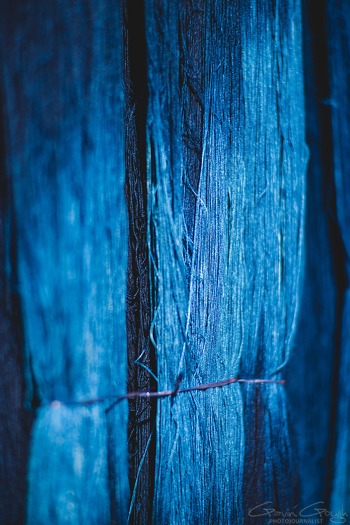 Yarn dyed with indigo hanging in a weaver's house, Indigo Dyeing Factory, Sakhon Nokhon, Thailand