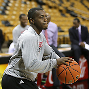 Louisville Cardinals guard Kevin Ware (5) warms up prior to this afternoons NCAA basketball game between the 14th ranked Louisville Cardinals and the UCF Knights at the CFE Arena on Tuesday, December 31, 2013 in Orlando, Florida. (AP Photo/Alex Menendez)