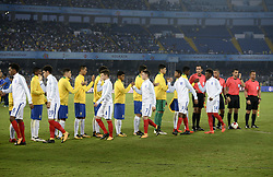 October 25, 2017 - Kolkata, West Bengal, India - Players of England and Brazil greet each other during the FIFA U 17 World Cup India 2017 Semi Final match in Kolkata. Players of England and Brazil in action during the FIFA U 17 World Cup India 2017 Semi Final match on October 25, 2017 in Kolkata. (Credit Image: © Saikat Paul/Pacific Press via ZUMA Wire)