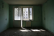 Chernobyl, Exclusion Zone, Ukraine. Interiors. Housing estates  taken over by nature. Pripyat Town built 15 years before the Chernobyl reactor fire. The whole town was evacuated shortly after. The  Chernobyl Reactor, towns, plant and environs just before the 20th anniversary of the nuclear disaster.