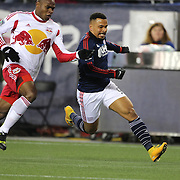 Charlie Davies, (right), New England Revolution, challenged by Jamison Olave, New York Red Bulls, during the New England Revolution Vs New York Red Bulls, MLS Eastern Conference Final, second leg. Gillette Stadium, Foxborough, Massachusetts, USA. 29th November 2014. Photo Tim Clayton