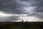 Dark and moody weather clouds in the sky above London city with the silhouette of iconic London buildings including: The BT Tower, The London Eye, The Shard, The Walkie Talkie and Canary Wharf taken from Primrose Hill, London, England, United Kingdom.<br /> (photo by Andrew Aitchison / In pictures via Getty Images)