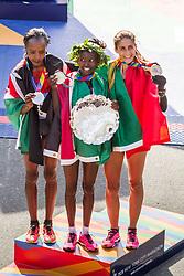 NYC Marathon, women's podium, Sumgong, Keitany, Moreira