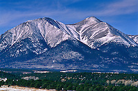 """14,229 ft. Mount Shavano of the Sawatch Mountains,  Colorado.  USA.  A figure of the """"Angel of Shavano""""  in snow."""