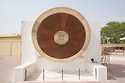India, Rajasthan, Jaipur. The Jantar Mantar astronomical park from 1728 Narivalaya Yantra - representing the 2 hemispheres for calculating time.