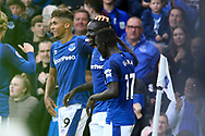 Oumar Niasse of Everton c) celebrates with his teammates after scoring his teams 2nd goal to make it 2-1.  Premier league match, Everton vs Bournemouth at Goodison Park in Liverpool, Merseyside on Saturday 23rd September 2017.<br /> pic by Chris Stading, Andrew Orchard sports photography.
