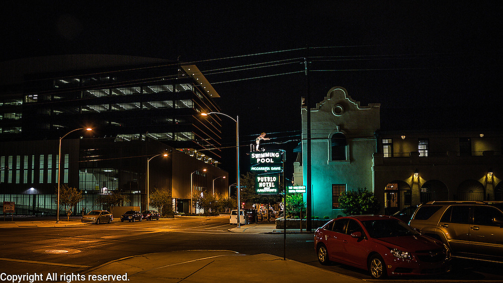 Pueblo Hotel.    Photographed in downtown Tucson on a warm summer night.