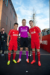 LIVERPOOL, ENGLAND - Thursday, April 10, 2014: Liverpool players Philippe Coutinho Correia, goalkeeper Simon Mignolet and Jordan Henderson launch the new Warrior home kit for 2014/2015 at the Liverpool One shopping centre. (Pic by David Rawcliffe/Propaganda)