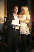 THE WINNER OF THE PRIZE: IAIN HOLLINGSHEAD (PASSAGES IN  HIS BOOK TWENTY SOMETHING)  AND COURTNEY LOVE, Literary Review's Bad Sex In Fiction Prize.  In & Out Club (The Naval & Military Club), 4 St James's Square, London, SW1, 29 November 2006. <br />