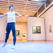 Dancer in Robert Binet's 'Lake Maligne' with paintings by Lawren Harris at the Museum of Fine Arts, Boston