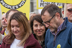 London, UK. 23rd March, 2019. Liz Kendall MP prepares to join a million people taking part in a Put It To The People for a People's Vote march through central London from Park Lane to a rally in Parliament Square addressed by a selection of politicians and entertainers.