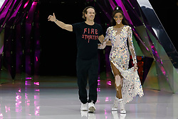 Fashion designer Manuel Facchini and model Winnie Harlow takes the cat-walk of Byblos fashion show during Milan Fashion Week Autumn/Winter 2019/20 on February 20, 2019 in Milan, Italy. Photo by Marco Piovanotto/ABACAPRESS.COM