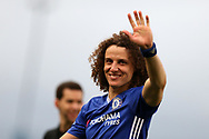 David Luiz of Chelsea waves to the Chelsea fans at the end of the match. Premier league match, Stoke City v Chelsea at the Bet365 Stadium in Stoke on Trent, Staffs on Saturday 18th March 2017.<br /> pic by Andrew Orchard, Andrew Orchard sports photography.