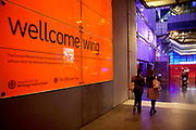 Sign for the Wellcome Wing. The Science Museum, London. The Science Museum was founded in 1857 with objects shown at the Great Exhibition of 1851. Today the Museum is world renowned for its historic collections, awe-inspiring galleries and inspirational exhibitions.