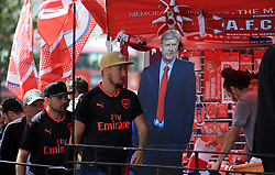 6 August 2017 -  FA Community Shield 2017 - Arsenal v Chelsea - An image of Arsene Wenger manager of Arsenal on a cutout outside a merchandise stall - Photo: Marc Atkins / Offside.