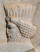 Detail of Bearded Persian Soldier Bas reliefs in Persepolis, the ceremonial capital of the Persian Empire (550-330 BC) during the Achaemenid dynasty. Persepolis, Iran