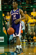 WACO, TX - DECEMBER 18: Jalan West #12 of the Northwestern State Demons brings the ball up court against the Baylor Bears on December 18 at the Ferrell Center in Waco, Texas.  (Photo by Cooper Neill/Getty Images) *** Local Caption *** Jalan West