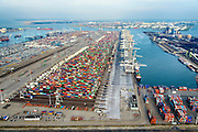 Nederland, Zuid-Holland, Rotterdam, 28-09-2014; Eerste Maasvlakte met  Amazonehaven en zicht op ECT Delta Terminal (Europe Container Terminals).<br /> Port of Rotterdam, First Maasvlakte and Europe Container Terminals.<br /> luchtfoto (toeslag op standard tarieven);<br /> aerial photo (additional fee required);<br /> copyright foto/photo Siebe Swart