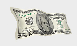 20 flat front 001 United States twenty dollar bill floating on air with a white background