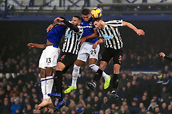 File photo dated 05-12-2018 of Everton's Yerry Mina (left) and Dominic Calvert-Lewin (second right) battle for the ball with Newcastle United's Jamaal Lascelles (second left) and Fabian Schar (right) during the Premier League match at Goodison Park, Liverpool.