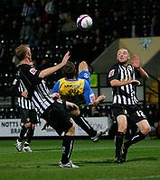 Photo: Steve Bond.<br />Notts County v Hereford United. Coca Cola League 2. 02/10/2007. Luke Webb (C) attampts an overhead shot on goal