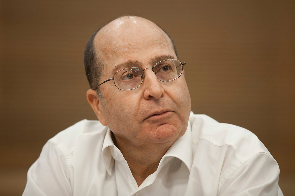 Israel's Minister of Strategic Affairs, Moshe (Bogie) Ya'alon is seen at the Knesset, Israel's parliament in Jerusalem, on October 24, 2011, during his meeting with a delegation of the One Voice movement, which aims to end the Israeli-Palestinian conflict.