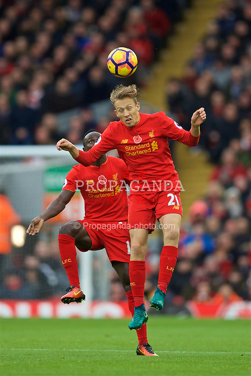 LIVERPOOL, ENGLAND - Sunday, November 6, 2016: Liverpool's Lucas Leiva in action against Watford during the FA Premier League match at Anfield. (Pic by David Rawcliffe/Propaganda)