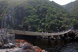 Suspension bridge over the mouth of storms river, Tsitsikamma National Park, South Africa