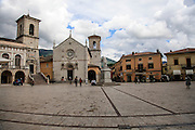 The church of St. Benedict, facing Piazza San Benedetto, in Norcia, Umbria, Italy