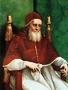 Julius II (born Giuliano della Rovere - 1443-1513) Pope from 1503. Known as the Warrior Pope.  1511-1512: Raphael (Raffaello Santi  1483-1520) Italian painter. Oil on wood.