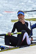 Reading. United Kingdom.  GBR W2-, stroke, Donna ETIEBET, boating for the semi final A/B,    2014 Senior GB Rowing Trails, Redgrave and Pinsent Rowing Lake. Caversham.<br /> <br /> 14:17:47  Saturday  19/04/2014<br /> <br />  [Mandatory Credit: Peter Spurrier/Intersport<br /> Images]
