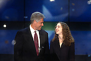 US President Bill Clinton with daughter Chelsea after accepting the nomination for the democrat party at the 1996 Democratic National Convention August 29, 1996 in Chicago, IL.
