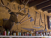 Elk head mount and antique tools and other artifacts displayed inside the Polebridge General Store, Polebridge, Montana.