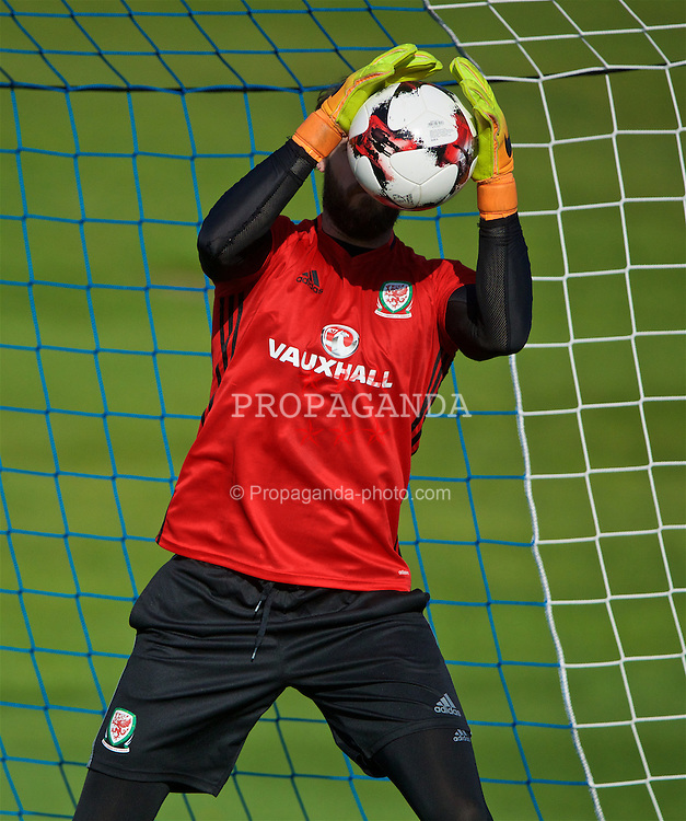 CARDIFF, WALES - Wednesday, October 5, 2016: Wales' goalkeeper Owain Fon Williams during a training session at the Vale Resort ahead of the 2018 FIFA World Cup Qualifying Group D match against Austria. (Pic by David Rawcliffe/Propaganda)