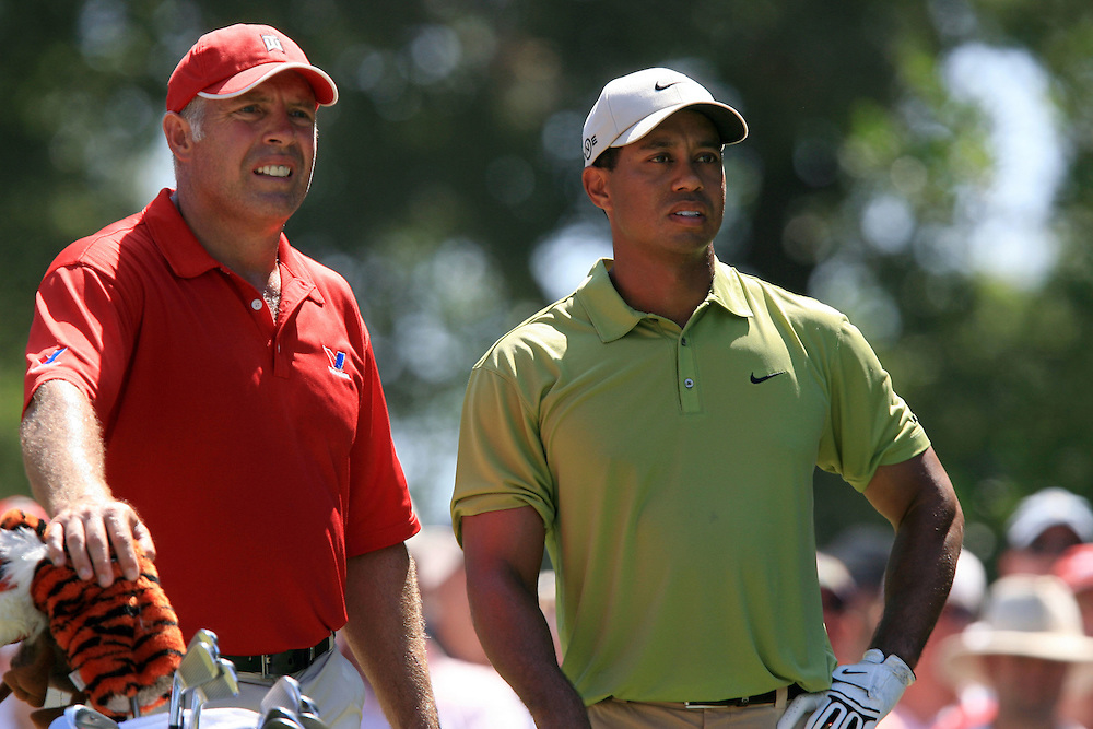 11 August 2007: Tiger Woods and caddie Steve Williams wait on the 6th tee box during the third round of the 89th PGA Championship at Southern Hills Country Club in Tulsa, OK.