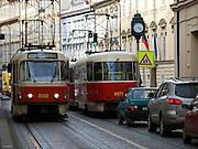"""Klassiche Prager Strassenbahnen auf der Strecke vom Kleinseitner Ring (Malostranske Namesti) zum Ujezd.<br /> <br /> Classic Prague trams on a street connecting """"Malostranske Namesti"""" and the station """"Ujezd""""."""