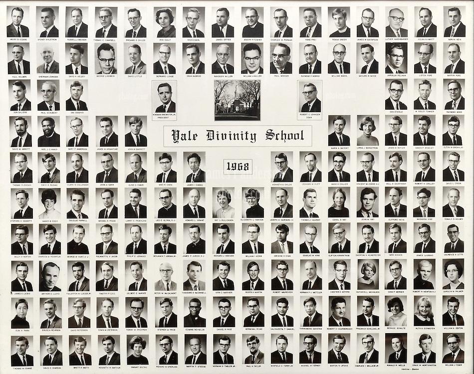 1968 Yale Divinity School Senior Portrait Class Group Photograph