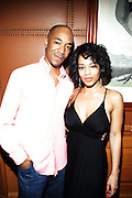 l to r: Dawton Thomas and Melyssa Ford  at the Maxwell Press conference announcing his first new album in eight years, ' BLACKsummers'night,'  held at The Sony Club on April 28, 2009 in New York City