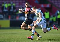 Rugby Union - 2020 / 2021 Gallagher Premiership - Round 12 - Harlequins vs Northampton Saints - The Stoop<br /> <br /> Harlequins' Joe Marchant evades the tackle of Northampton Saints' Ollie Sleightholme.<br /> <br /> COLORSPORT/ASHLEY WESTERN