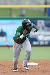 July 17, 2018 - Clearwater, FL, U.S. - TAMPA, FL - JULY 17: Taylor Trammell (5) of the Tortugas hustles over to third base during the Florida State League game between the Daytona Tortugas and the Clearwater Threshers on July 17, 2018, at Spectrum Field in Clearwater, FL. (Photo by Cliff Welch/Icon Sportswire) (Credit Image: © Cliff Welch/Icon SMI via ZUMA Press)