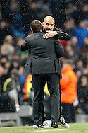 Honours even Celtic Manager Brendan Rogers and Manchester City Manager Josep Guardiola during the Champions League match between Manchester City and Celtic at the Etihad Stadium, Manchester, England on 6 December 2016. Photo by Craig Galloway.