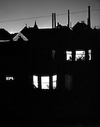 San Francisco, North Beach houses, night, 1950