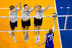 24.06.2011, Max Schmeling Halle, Berlin, GER, FIVB World League, Vorrunde Pool B, Deutschland (GER) vs Russland (RUS), im Bild Sebastian Schwarz (#3 GER / Perugia ITA), Marcus Boehme (#8 GER / Friedrichshafen GER), Jochen Schoeps (#10 GER / Odintsovo RUS) - Maxim Mikhaylov (#17 RUS)// during FIVB World League game, Germany vs Russia, at Max Schmeling Halle, Berlin, 2010-06-24, EXPA Pictures © 2011, PhotoCredit: EXPA/ nph/  Kurth       ****** out of GER / SWE / CRO  / BEL ******