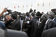 His Excellency General Salva Kiir, the president of South Sudan and commander in chief of the SPLA arriving at the official independence day ceremony. After decades of conflict, Southern Sudan declared independence from the North on July 9th, 2011. Government officials, foreign dignitaries and ordinary people came to the John Garang Memorial in the capital from all over the country and the world to celebrate the historic occation..Juba, South Sudan. 09/07/2011..Photo © J.B. Russell